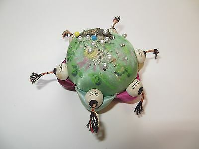 1950s Vintage Japanese Children Handpainted Silk Sawdust-filled Pincushion