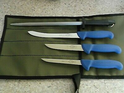 F Dick 5 Pce Premium Fishing Knife Package Stain Free Germany Aussie Canvas Roll