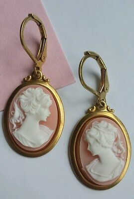 Vintage Chic Cameo Drop Earrings Gold Pink White Lady