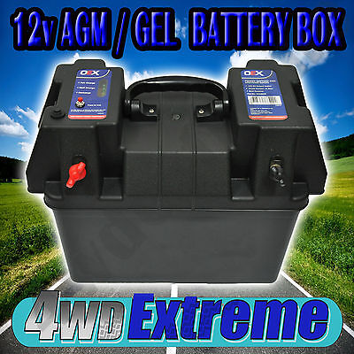 Battery Box Holder Case 12V 12 Volt Agm Deep Cycle Dual Batteries New Acx0678