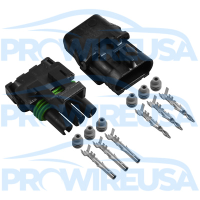 Delphi Weather Pack 3 Pin Sealed Connector Kit 16-14 GA