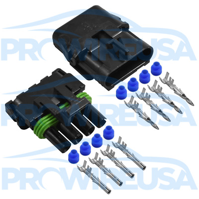 Delphi Weather Pack 4 Pin Sealed Connector Kit 12-10 GA