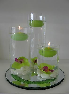 Glass Floating Candle Holder set /Wedding Centrepiece with Mirrored Base - Green