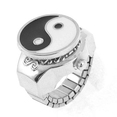 Silver Tone Metal Eight Diagram Designed Finger Ring Watch US 5