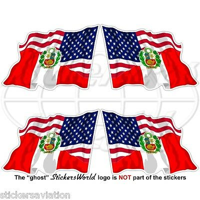 USA United States America-PERU American-Peruvian Flying Flag 50mm Stickers x4