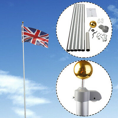 20FT Flag Pole Aluminium 5 Joints Flagpole W/ 2 UK Flags & Gold Ball New