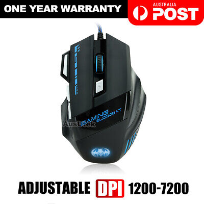 6800DPI LED Wired USB Optical Backlight Gaming Mouse Support Pro PC Laptop Mac