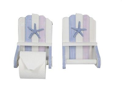 1pce 22cm Beach Themed Toilet Roll Holder in Blue, White and Purple Tones Wooden