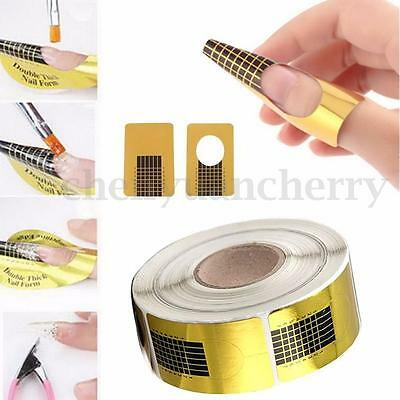 100Pcs Golden Nail Art Tips Extension Forms Guide French DIY Acrylic UV Gel Kit