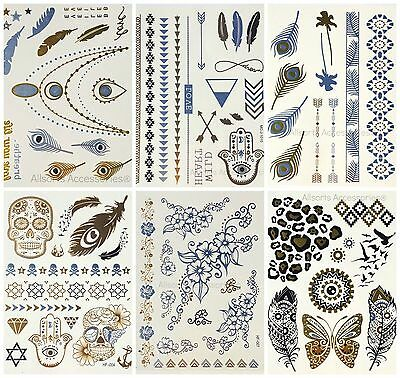 12 Sheet Temporary Metallic Tattoos Gold Silver Black Flash Tattoos Inspired UK