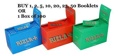 Rizla King Size Slim Paper Booklets RED BLUE GREEN Cigarette Rolling Papers