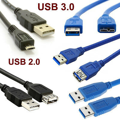 USB3.0 & USB2.0 Male Female Micro Cable Data Transfer Charging Lead 1m 2m 3m LOT
