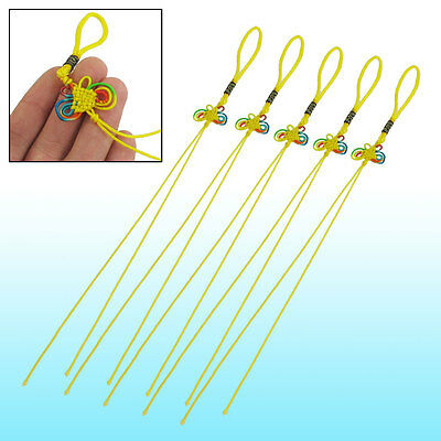 5 x Yellow Nylon String Colorful Butterfly Chinese Knot Ornament