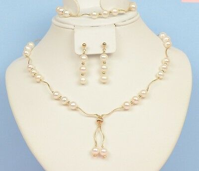 14K Yellow Gold Natural genuine White Pearl Necklace, Bracelet, Earrings Set