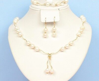 14K Yellow Gold Natural White genuine Pearl Necklace, Bracelet, Earrings Set