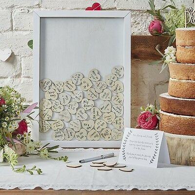 DROP TOP WOODEN FRAME GUESTBOOK including 70 HEARTS - BOHO RANGE by GINGER RAY