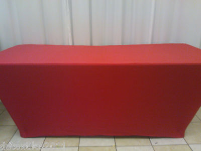 6ft red spandex buffet table covers,wedding,event, DJ,craft/tradeshows,party