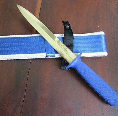 """F Dick 8.5"""" Pig Sticking Knife Double Edged Blade With Heavy Aussie Belt Sheath"""