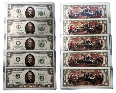 1976 BICENTENNIAL Colorized 2-SIDED U.S. $2 Bills * Lot of 5 Consecutive Numbers