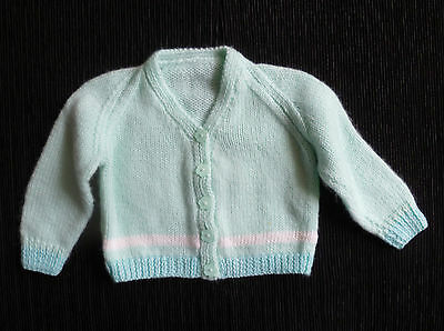 Baby clothes BOY GIRL 3-6m hand-knitted soft aqua cardigan COMBINE POST SEE SHOP