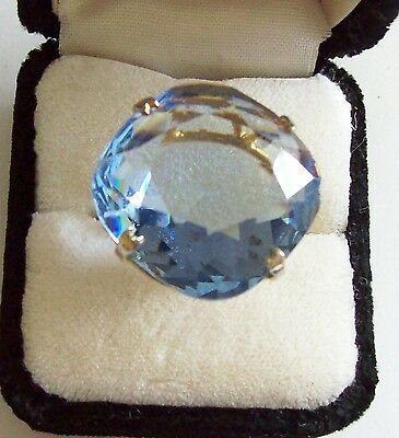 Vintage Large Baby Blue Faceted Glass Filigree Art Deco Ring