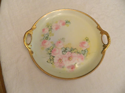 """K. & L. France Studio Chicago Hand Painted 8"""" Plate Pink Flowers"""