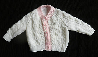 Baby clothes GIRL 0-3m hand-knitted, pink/white soft chunky cardigan SEE SHOP!