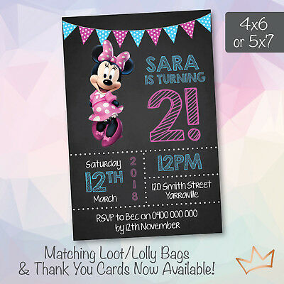 Personalised Minnie Mouse Birthday Party Invitations Baby Shower Invites