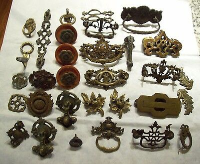 Big Lot Antique Mostly Brass Architectural Drawer Pulls Hardware Rosettes etc