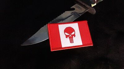Canadian Skull Flag Morale Woven Patch Canada