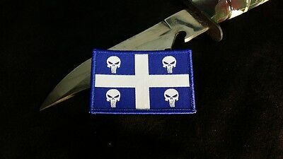Quebec Province Skull Flag Morale Woven Velcro Patch