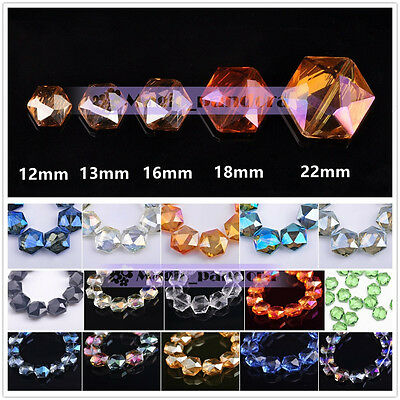 Hexagon Faceted Crystal Glass Charm Loose Spacer Beads 12mm/13mm/16mm/18mm/ 22mm