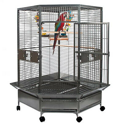 156cm Large Parrot Bird Stand Trolley Playgym Ladder Stair Swing Cage BS303