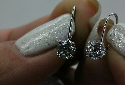1.00 Ctw Brilliant Round Cut Drop  Leverback Earrings Real 14K White Gold