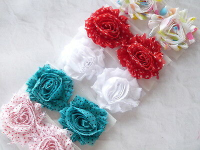 Shabby Chiffon Rose Flowers Trim Mixed Pack Wholesale Craft Headband Supplies