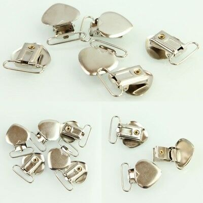 20Pcs Leed Free Metal Clips Insert Pacifier Holders Heart Shape Suspender Hook