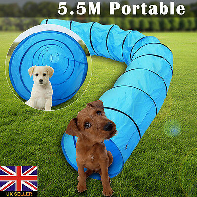 5.5M Dog Agility Tunnel Obedience Training Activity Exercise Foldable W/Free Bag
