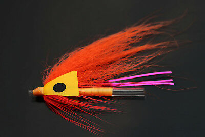 48 Pcs Orange Feather Tube Flies Salmon And Sea Trout Fly Fishing Lures