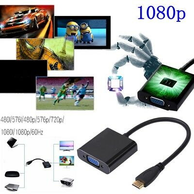 Input HD HDMI to Output VGA Cable Converter Adapter for PC DVD TV Monitor 1080P