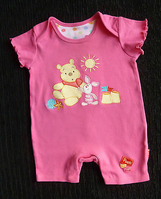 Baby clothes GIRL 0-3m Disney/George Pooh Bear beach bright pink romper SEE SHOP