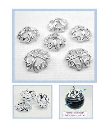 925 Solid STERLING SILVER 8mm Bright 4 Heart Bead Caps 50pcs #5405-3