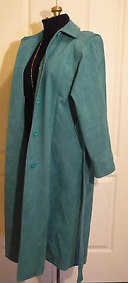 Vintage Olympic Fashions Sz 12 Teal Ultrasuede Vegan Belted Trench Coat Washable