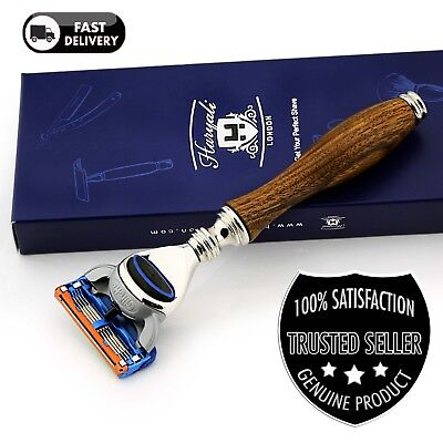 Gillette Fusion Wooden Handle Haryali London Men Cartridge Razor Gift