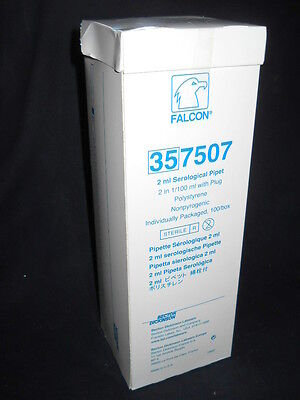 (100) BD Falcon 2mL in 1/100 Sterile Polystyrene Serological Pipets, 357507