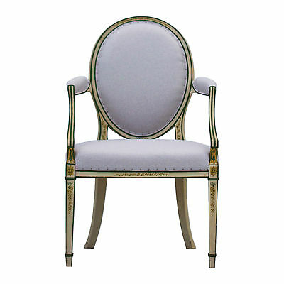 Upholstered Georgian Painted Armchair. 18th Century Antique Chair in Linen.