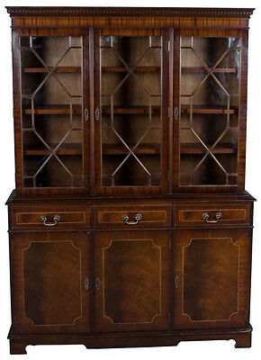 Vintage Antique Style Mahogany Triple Door Breakfront Bookcase China Cabinet