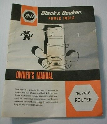 Original 1979 Black & Decker Power Tools 7616 Router Owner's Manual Instructions