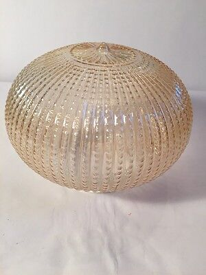 Carnival Glass Iridescent Marigold Peach Amber Beaded Lamp Shade Globe Art Deco