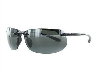 NEW Maui Jim Sunglasses 412-02 Banyans Gloss Black/ Grey Polarized Lenses