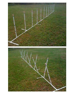 Dog Agility Equipment 12 Weave Poles Adjustable Angle and Spacing